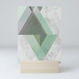 MINT TEAL GRAY CONCRETE abstract Mini Art Print