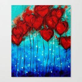 Hearts On Fire - Romantic Art By Sharon Cummings Canvas Print