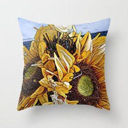 Sun Flower Day, Sun flowers art, sunflower prints, sun flowers tote, sun flowers bag, sun flowers Throw Pillow