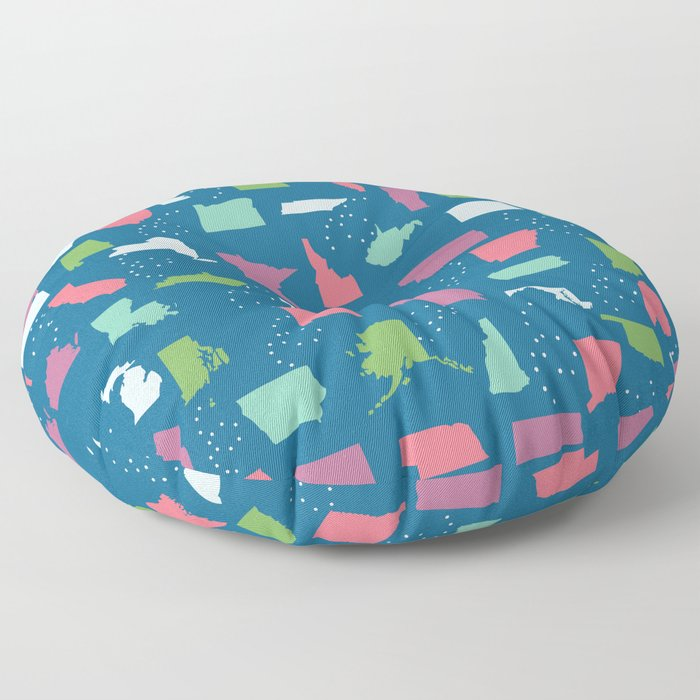 United States on Blue Floor Pillow