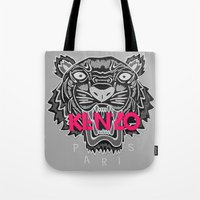 kenzo Tote Bags featuring KENZO Tiger, pink letters by cvrcak