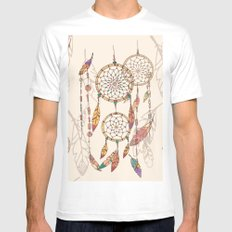 Bohemian dream catcher with beads and feathers Mens Fitted Tee White MEDIUM