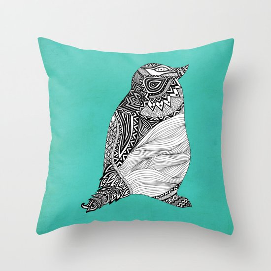 Tribal Penguin Throw Pillow