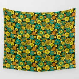 Even groovier flowers turquoise and mustard Wall Tapestry