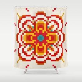 pixel flower Shower Curtain