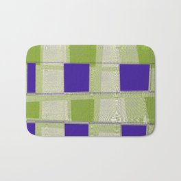Blue squares and green squares. Tiles design Bath Mat