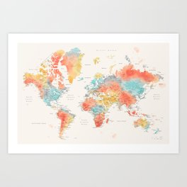 Colorful watercolor world map with cities Art Print
