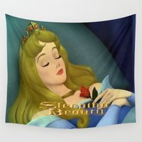 sleeping beauty Wall Tapestries featuring Sleeping Beauty by ezmaya