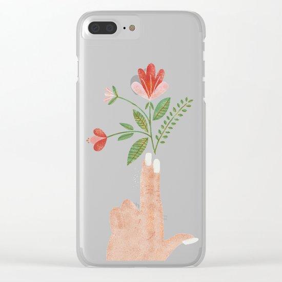 Floral Pistol Clear iPhone Case
