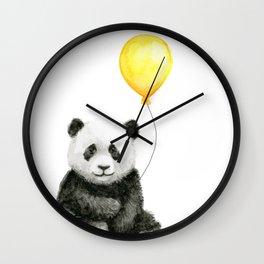 Panda Watercolor Animal with Yellow Balloon Nursery Baby Animals Wall Clock