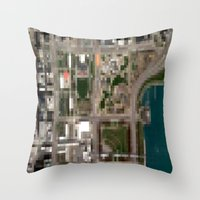 chicago map Throw Pillows featuring Chicago by Mark John Grant