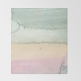 Hand painted pink ivory green watercolor paint Throw Blanket