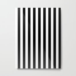 Narrow Vertical Stripes - White and Black Metal Print