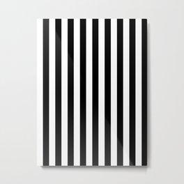 Narrow Vertical Stripes - White and Black Metal Print
