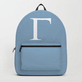 Greek letter Gamma sign on placid blue background Backpack