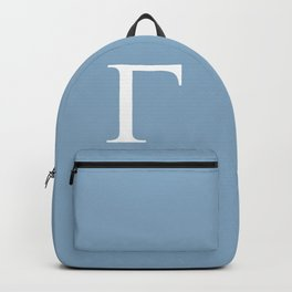 Greek letter Gamma sign on placid blue background Backpack
