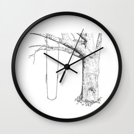 tree and swing, drawing black and white Wall Clock