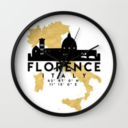 FLORENCE ITALY SILHOUETTE SKYLINE MAP ART Wall Clock