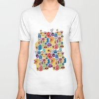monster V-neck T-shirts featuring Monster Faces Pattern by Chris Piascik