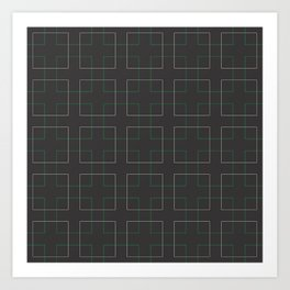 A mosaic in green and light brown lines Art Print