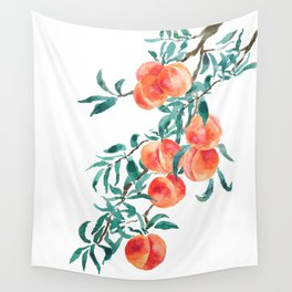 peach watercolor Wall Tapestry