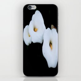 Three Calla Lilies Isolated On A Black Background iPhone Skin