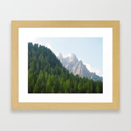 Forest Pines and Mountain Spikes Framed Art Print