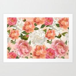 Peony Flowers Pattern Art Print