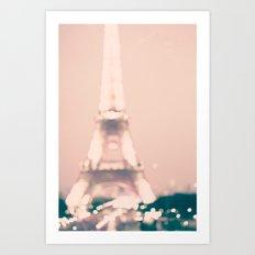 Paris, Eiffel Tower lights on pink Art Print