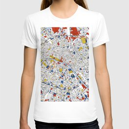 Paris Mondrian Map Art T-shirt