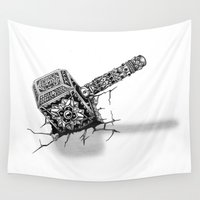 thor Wall Tapestries featuring Hammer of Thor by Adrian Dominguez