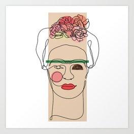 Frida Kahlo Line Art Art Print