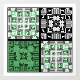 Green black patchwork Art Print