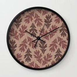 Autumn oak leaves and acorns pattern  Wall Clock
