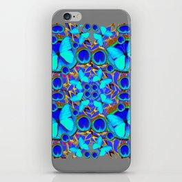 Abstract Decorative Aqua Blue Butterflies On Charcoal Grey Art iPhone Skin