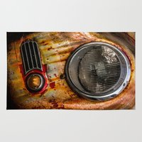 porsche Area & Throw Rugs featuring Rusty old Porsche by Eduard Leasa Photography