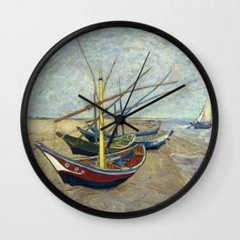 Van Gogh - Fishing boats on the beach, 1888 Wall Clock
