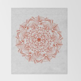 Rust Red Mandala on Japanese Rice Paper Throw Blanket