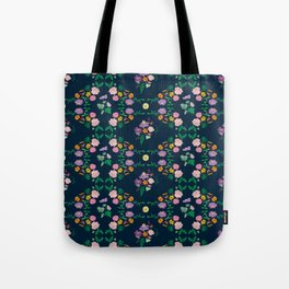 Floral garden Repeat Pattern Illustrated Print Tote Bag