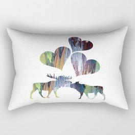Moose couple Rectangular Pillow