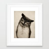 ass Framed Art Prints featuring Owl Sketch by Isaiah K. Stephens