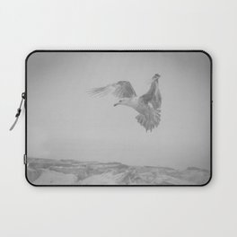 Gull in the Mist - Black and White Animal / Wildlife Photograph Laptop Sleeve