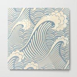 Abstract great waves vintage illustration pattern Metal Print