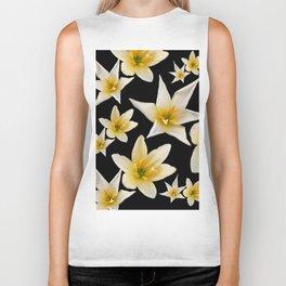White flowers with pattern Biker Tank