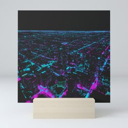 Future Skyline Computer Cyberpunk City Mini Art Print