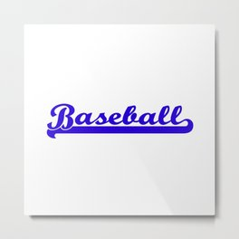 Baseball Royal Blue Typography Metal Print