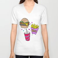 junk food V-neck T-shirts featuring Junk Food (Purple) by grackken