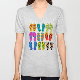 Sandals Colorful Fun Beach Theme Summer Unisex V-Neck