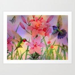Painterly Hummingbirds And Flowers Art Print