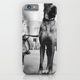 The Happiness of Little Girls and Great Danes black and white photograph iPhone Case